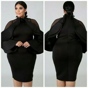 🆕Black Elegant Large Ruffled Celebrity Dress 1X